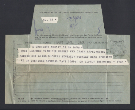 Grand Duke Vladimir & Grand Duchess Leonida Romanov in Car Crash 1962 Telegram
